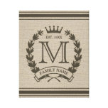 Custom Initial Monogrammed Family Logo Stretched Canvas Prints