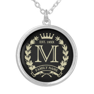 Custom Initial Monogrammed Family Logo Round Pendant Necklace
