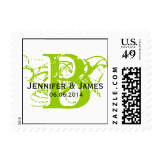 Custom Initial Names Date Wedding Postage Green