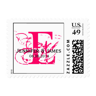 Custom Initial Names Date Wedding Postage Hot Pink