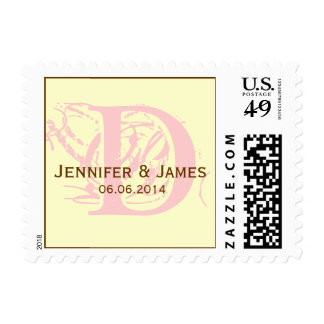 Custom Initial Names Date Wedding Postage Pink