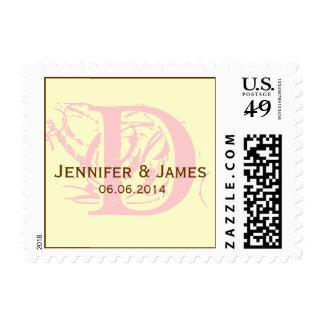 Custom Initial Names Date Wedding Postage Pink
