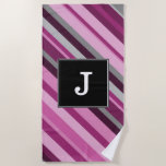 [ Thumbnail: Custom Initial + Pink/Purple/Grey Stripes Beach Towel ]
