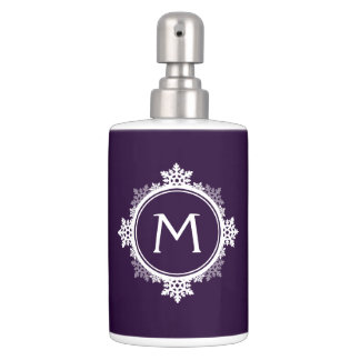 Custom Initial Purple Snowflake Bathroom Dispenser