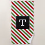 [ Thumbnail: Custom Initial; Red, White & Green Striped Pattern Beach Towel ]