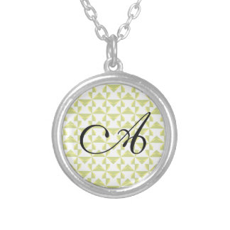 Custom Initial Sage Pinwheels Silver Plated Necklace