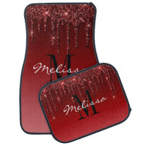 Custom Initial Script Glitter Drip Burgundy Red Car Floor Mat