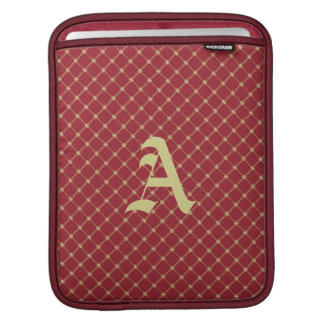 Custom Initial Tudor Red and Gold Pattern iPad Sleeves
