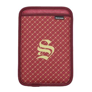 Custom Initial Tudor Red and Gold Pattern Sleeve For iPad Mini