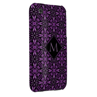 Custom Initial Victorian Purple Fractal Pattern iPhone 3 Covers