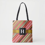 [ Thumbnail: Custom Initial + Watermelon-Inspired Stripes Tote Bag ]
