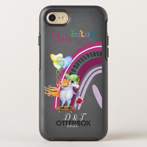 Custom Initials and Date Bright Love Unicorns  Ott OtterBox Symmetry iPhone SE/8/7 Case