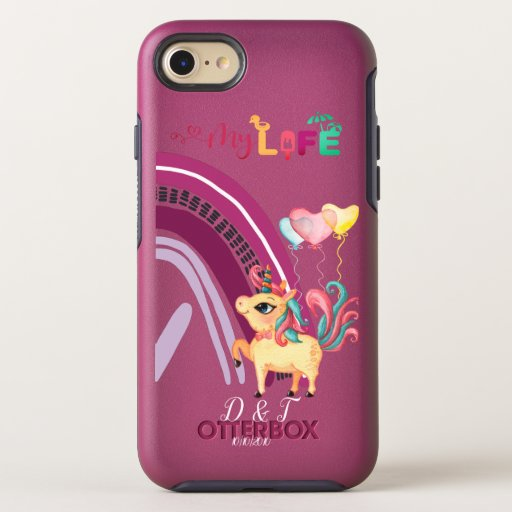 Custom Initials and Date Bright Love Unicorns  OtterBox Symmetry iPhone SE/8/7 Case