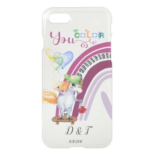 Custom Initials and Date Bright Love Unicorns  Unc iPhone SE/8/7 Case
