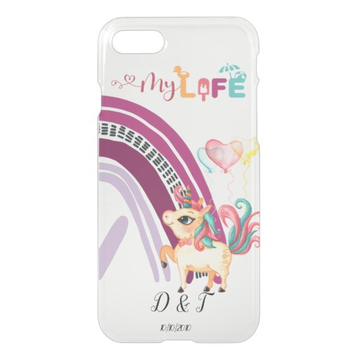 Custom Initials and Date Bright Love Unicorns  iPhone SE/8/7 Case