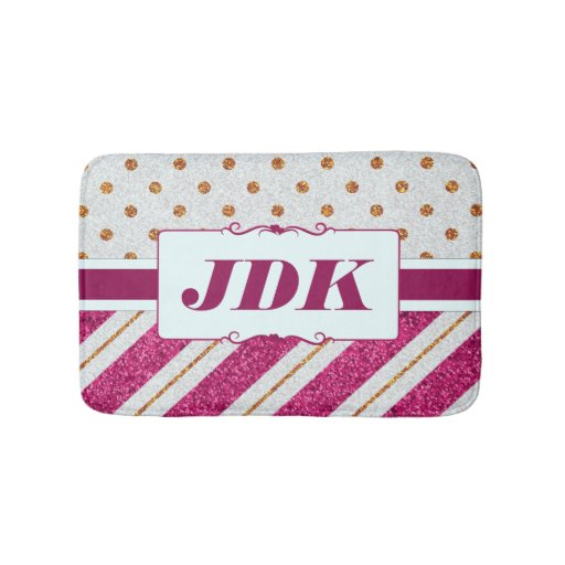 Custom Initials Gold Glitter Pink Diagonal Stripes