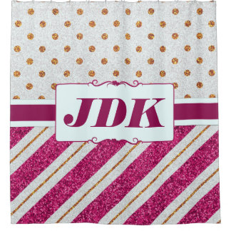 Custom Initials Gold Glitter Pink Diagonal Stripes Shower Curtain
