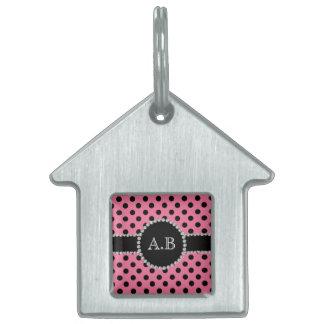 Custom initials light pink black polka dots pet ID tag
