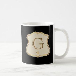 Custom Initials Monogrammed Black Mug