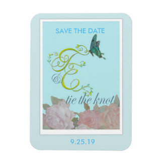 Custom initials painted Save the Date Magnet
