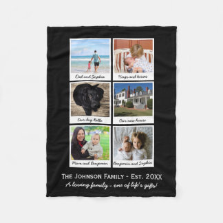 Custom Instagram Photo Collage Black or Your Color Fleece Blanket