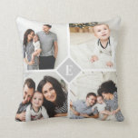 "Custom Instagram Photo Collage Family Monogram Throw Pillow<br><div class=""desc"">Custom made to order throw pillows personalized with your photos and text. Add 4 square Instagram photos with a classic monogram initial in the center. Reverse side has a chic gray and white stripe pattern or choose a custom background color to match any home decor. Use the design tools to...</div>"