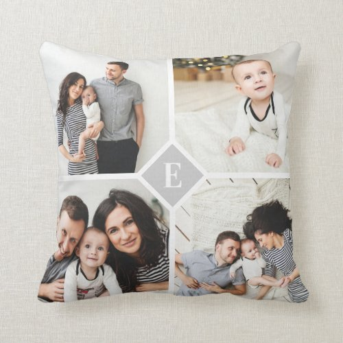 Custom Instagram Photo Collage Family Monogram Throw Pillow