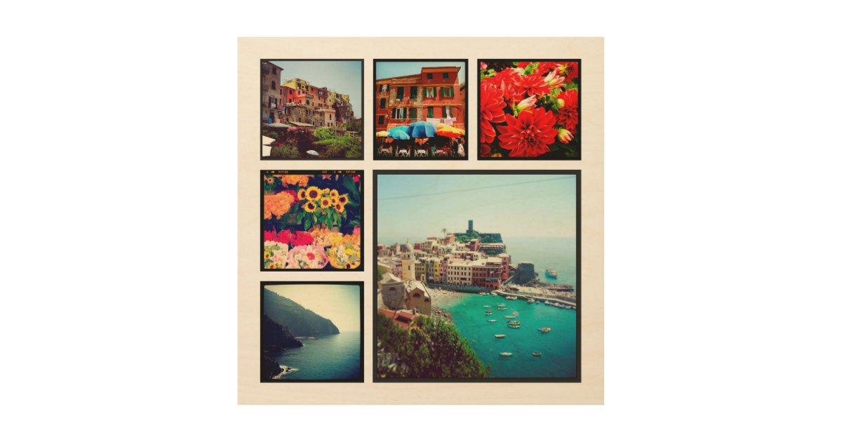 Custom Instagram Photo Collage Print on Wood   Zazzle.com