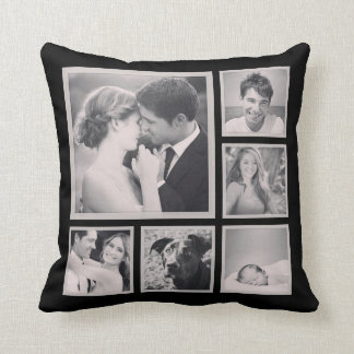 Custom Instagram Photo Collage Throw Pillow