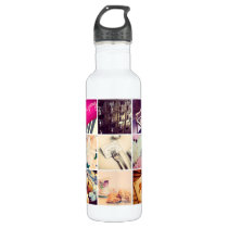 Custom Instagram Photo Collage Water Bottle