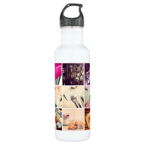 Custom Instagram Photo Collage Water Bottle