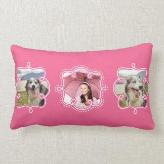 Custom Instagram Photos for Girls Bright Pink Lumbar Pillow