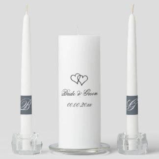 Custom interlocking heart wedding unity candle set