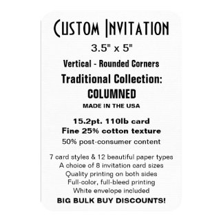 "Custom Invitation 3.5"" x 5"" COLUMNED Rounded"