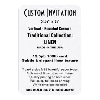 "Custom Invitation 3.5"" x 5"" LINEN Rounded"