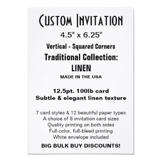 "Custom Invitation 4.5"" x 6.25"" LINEN 4.5"" X 6.25"" Invitation Card"