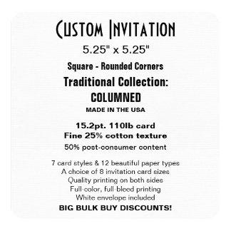 "Custom Invitation 5.25"" COLUMNED Square Rounded"