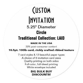 "Custom Invitation 5.25"" Round LAID Circle"