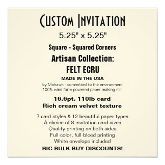 "Custom Invitation 5.25"" x 5.25"" FELT ECRU Square"