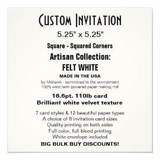 """Custom Invitation 5.25"""" x 5.25"""" FELT WHITE Square"""