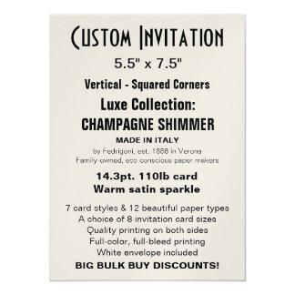 "Custom Invitation 5.5"" x 7.5"" CHAMPAGNE"