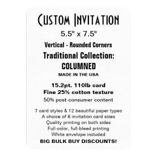 "Custom Invitation 5.5"" x 7.5"" COLUMNED Rounded"