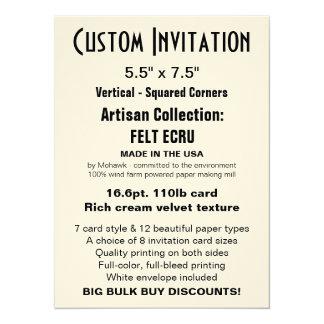 "Custom Invitation 5.5"" x 7.5"" FELT ECRU"