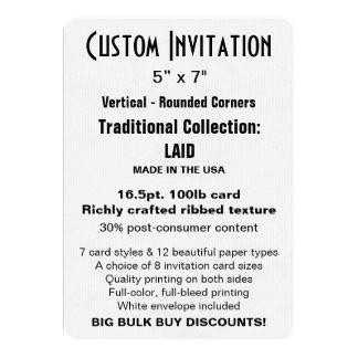 "Custom Invitation 5"" x 7"" LAID Rounded"