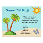 Custom Invitation, Summer Pool Party Theme Or