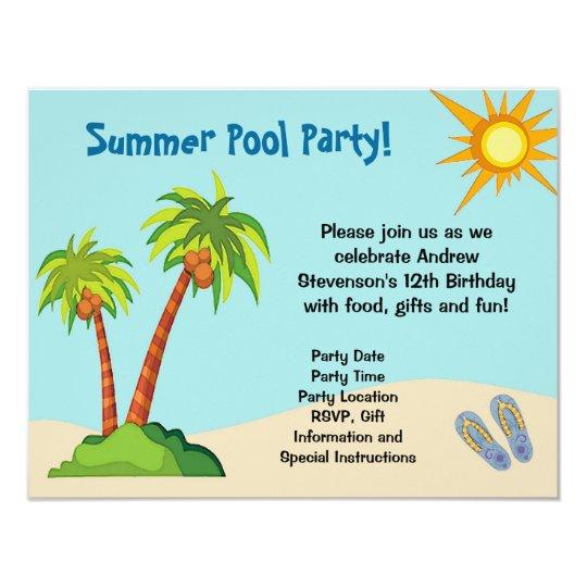 Custom Invitation, Summer Pool Party Theme Or Card