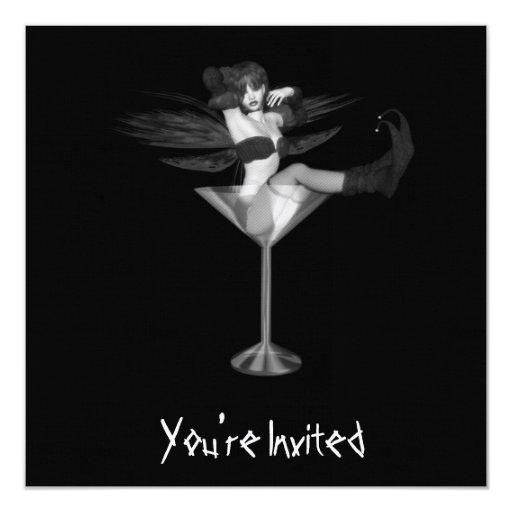 CUSTOM INVITES - B&W Fairy Martini Glass