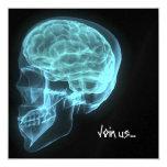 "CUSTOM INVITES - Blue Neon Side View X-ray Skull 5.25"" Square Invitation Card"
