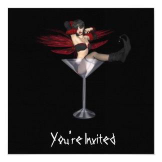 """CUSTOM INVITES - Red Wing Fairy Martini Glass 5.25"""" Square Invitation Card"""