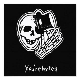 CUSTOM INVITES - Skull Top Hat Gentleman B&W